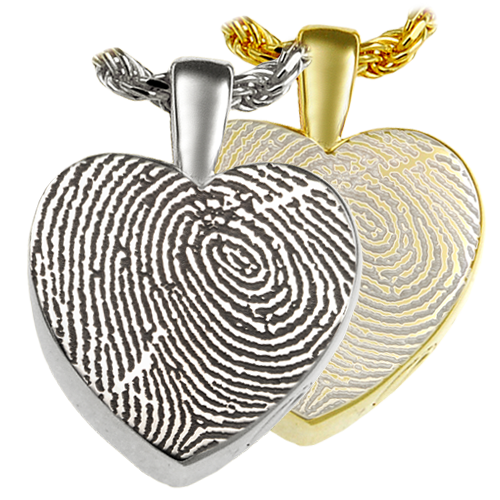 Classic Petite Heart Fingerprint Pendant Cremation Jewelry-Jewelry-New Memorials-Afterlife Essentials