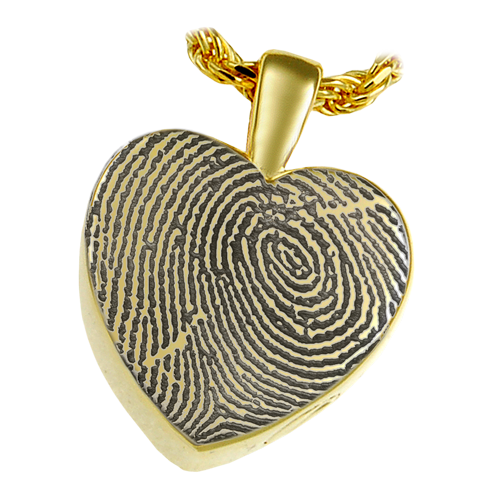 Classic Petite Heart Fingerprint Pendant Cremation Jewelry-Jewelry-New Memorials-14K Solid Yellow Gold (allow 4-5 weeks)-Afterlife Essentials