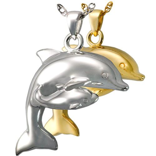 Dolphin And Baby Cremation Jewelry-Jewelry-New Memorials-Afterlife Essentials