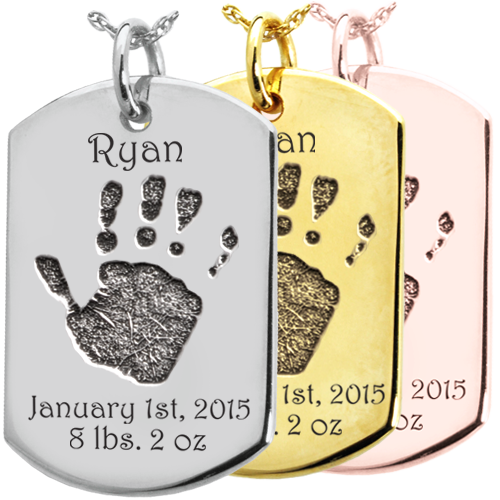 Baby Handprint on Dog Tag Flat Charm Memorial Jewelry-Jewelry-New Memorials-Afterlife Essentials