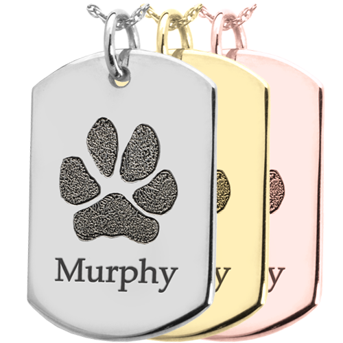 B&B Dog Tag Actual Pawprint Cremation Jewelry-Jewelry-New Memorials-Afterlife Essentials
