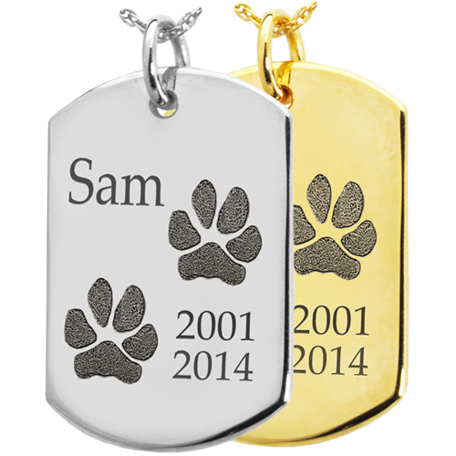 B&B Dog Tag 2 Actual Pawprints Cremation Jewelry-Jewelry-New Memorials-Afterlife Essentials