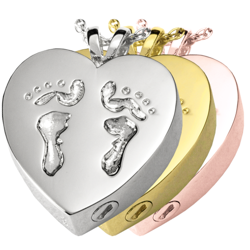 Baby Feet Heart Cremation Jewelry-Jewelry-New Memorials-Afterlife Essentials