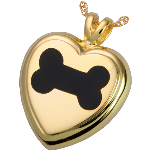 Black Inlay Dog Bone Heart Pet Pendant Cremation Jewelry-Jewelry-New Memorials-14K Gold Plating (14 over sterling silver)-Afterlife Essentials