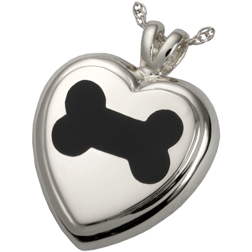 Black Inlay Dog Bone Heart Pet Pendant Cremation Jewelry-Jewelry-New Memorials-Sterling Silver-Afterlife Essentials
