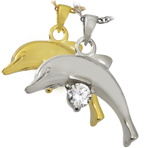 Dolphin With Stone Cremation Jewelry-Jewelry-New Memorials-Afterlife Essentials