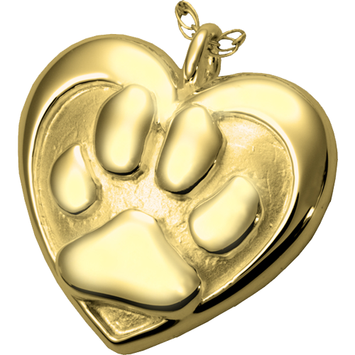 Double Heart Paw Print Gold Pet Cremation Jewelry-Jewelry-New Memorials-Free Black Satin Cord-Afterlife Essentials