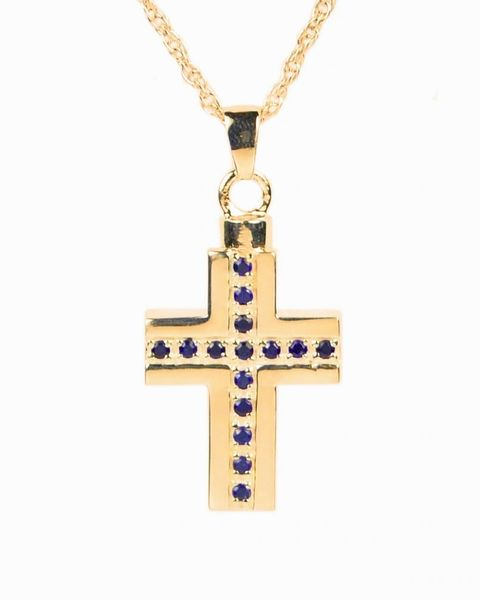 Gold Plated Cross with Blue Stones Cremation Jewelry-Jewelry-Cremation Keepsakes-Afterlife Essentials
