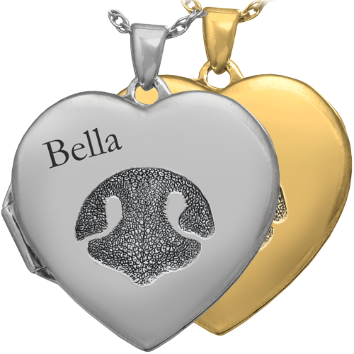 Heart Double Photo Locket Noseprint Pet Print Pendant Memorial Jewelry-Jewelry-New Memorials-Afterlife Essentials