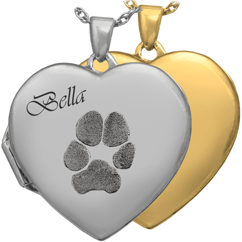 Heart Double Photo Locket Pawprint Pet Pendant Memorial Jewelry-Jewelry-New Memorials-Afterlife Essentials