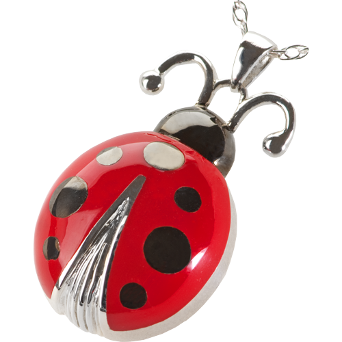 Lucky Ladybug Cremation Jewelry-Jewelry-New Memorials-Free Black Satin Cord-Afterlife Essentials