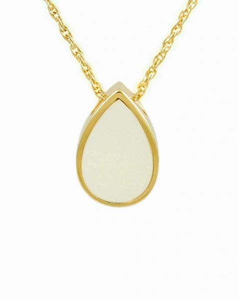 Gold Plated Mother of Pearl Tear Drop Cremation Jewelry-Jewelry-Cremation Keepsakes-Afterlife Essentials