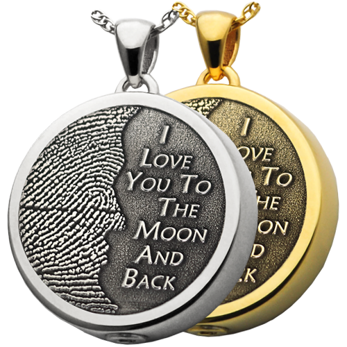 3D Fingerprint Moon Round Pendant Cremation Jewelry-Jewelry-New Memorials-Afterlife Essentials