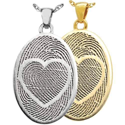 Oval Jewelry with 2 Married Fingerprints Cremation Jewelry-Jewelry-New Memorials-Afterlife Essentials