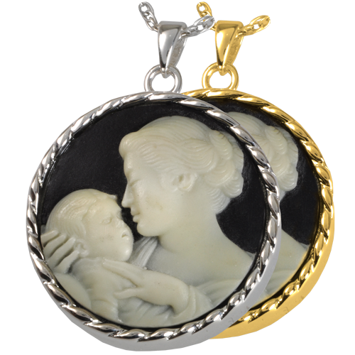 Mother's Embrace Cameo Black Cremation Jewelry-Jewelry-New Memorials-Afterlife Essentials