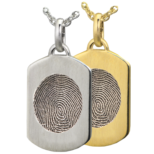 Petite Dog Tag Fingerprint Cremation Jewelry-Jewelry-New Memorials-Afterlife Essentials