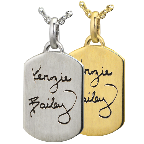 Petite Dog Tag Handwriting Cremation Jewelry-Jewelry-New Memorials-Afterlife Essentials