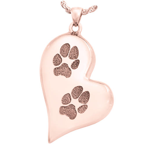 B&B Teardrop Heart 2 Pawprints Pendant Cremation Jewelry-Jewelry-New Memorials-14K Solid Rose Gold (allow 4-5 weeks)-Chamber (for ashes)-Afterlife Essentials