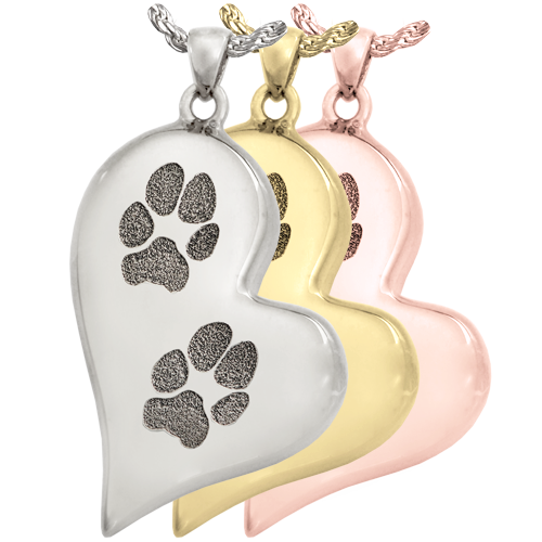 B&B Teardrop Heart 2 Pawprints Pendant Cremation Jewelry-Jewelry-New Memorials-Afterlife Essentials