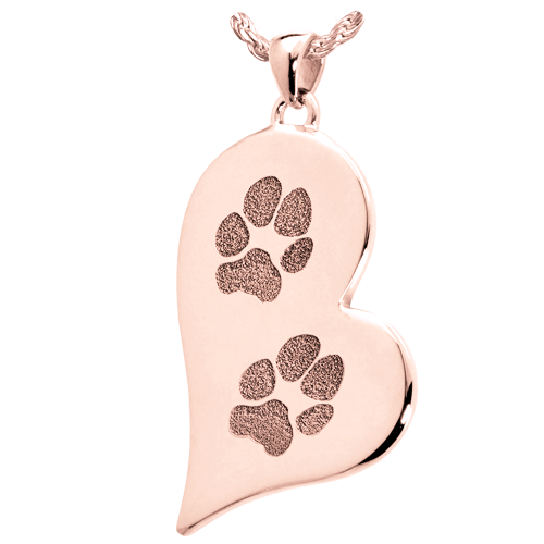 B&B Teardrop Heart 2 Pawprints Pendant Cremation Jewelry-Jewelry-New Memorials-14K Solid Rose Gold (allow 4-5 weeks)-No Chamber (flat)-Afterlife Essentials