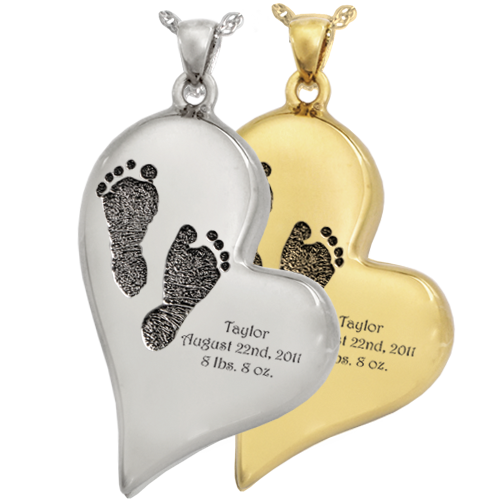 Teardrop Heart 2 Footprints Pendant Cremation Jewelry-Jewelry-New Memorials-Afterlife Essentials