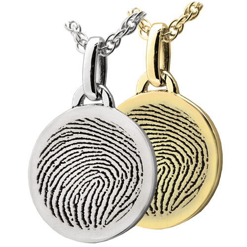Petite Round Fingerprint Cremation Jewelry-Jewelry-New Memorials-Afterlife Essentials