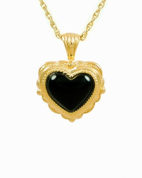 Gold Plated Antique Onyx Heart Cremation Jewelry-Jewelry-Cremation Keepsakes-Afterlife Essentials