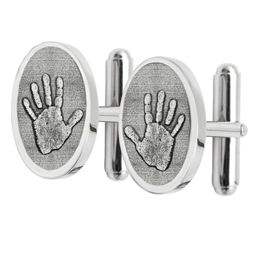 Sterling Silver Cuff Links Handprint Fingerprint Memorial Jewelry-Jewelry-New Memorials-Afterlife Essentials