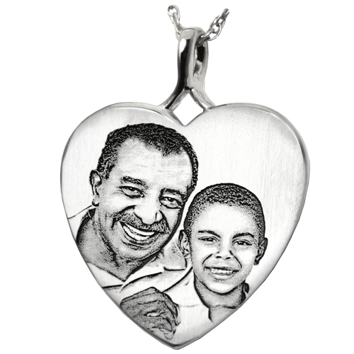 Heart Photo Pendant Cremation Jewelry-Jewelry-New Memorials-925 Sterling Silver-No Chamber (flat)-Afterlife Essentials