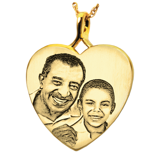 Heart Photo Pendant Cremation Jewelry-Jewelry-New Memorials-14K Solid Yellow Gold (allow 4-5 weeks)-No Chamber (flat)-Afterlife Essentials
