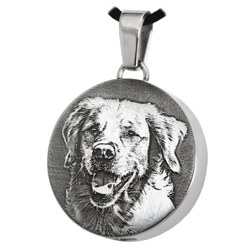Round Pet 3D Photo Pendant Cremation Jewelry-Jewelry-New Memorials-Stainless Steel-Chamber (for ashes)-Afterlife Essentials