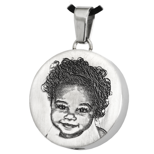 Round 3D Photo Pendant Cremation Jewelry-Jewelry-New Memorials-Stainless Steel-Chamber (for ashes)-Afterlife Essentials