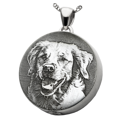 Round Pet 3D Photo Pendant Cremation Jewelry-Jewelry-New Memorials-925 Sterling Silver-Chamber (for ashes)-Afterlife Essentials