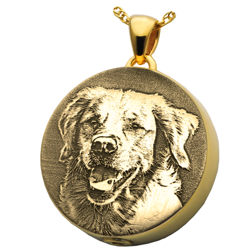 Round Pet 3D Photo Pendant Cremation Jewelry-Jewelry-New Memorials-14K Solid Yellow Gold (allow 4-5 weeks)-Chamber (for ashes)-Afterlife Essentials