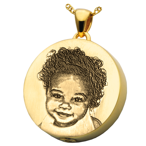 Round 3D Photo Pendant Cremation Jewelry-Jewelry-New Memorials-14K Solid Yellow Gold (allow 4-5 weeks)-Chamber (for ashes)-Afterlife Essentials