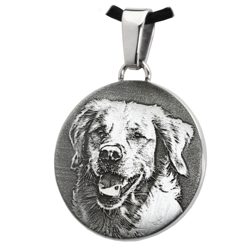 Round Pet 3D Photo Pendant Cremation Jewelry-Jewelry-New Memorials-Stainless Steel-No Chamber (flat)-Afterlife Essentials