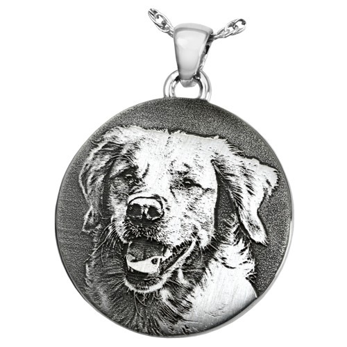 Round Pet 3D Photo Pendant Cremation Jewelry-Jewelry-New Memorials-925 Sterling Silver-No Chamber (flat)-Afterlife Essentials