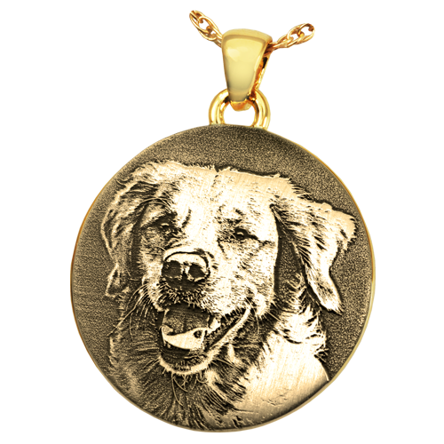 Round Pet 3D Photo Pendant Cremation Jewelry-Jewelry-New Memorials-14K Solid Yellow Gold (allow 4-5 weeks)-No Chamber (flat)-Afterlife Essentials