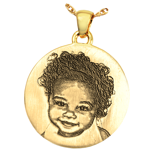 Round 3D Photo Pendant Cremation Jewelry-Jewelry-New Memorials-14K Solid Yellow Gold (allow 4-5 weeks)-No Chamber (flat)-Afterlife Essentials