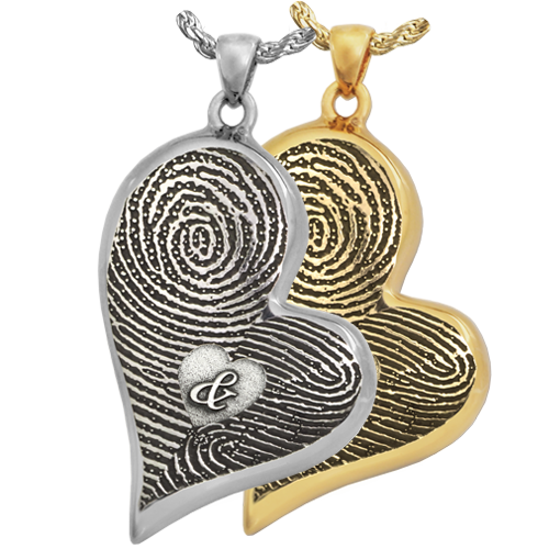 Double-Print Fingerprint with Ampersand Teardrop Heart Cremation Jewelry-Jewelry-New Memorials-Afterlife Essentials