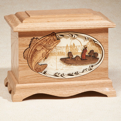 Bass Fishing Oak Wood 200 cu in Cremation Urn-Cremation Urns-Infinity Urns-Afterlife Essentials