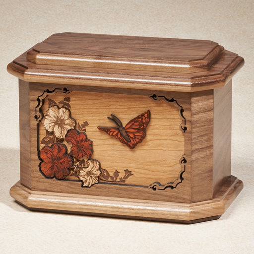 Butterfly Series Walnut Wood 200 cu in Cremation Urn-Cremation Urns-Infinity Urns-Afterlife Essentials