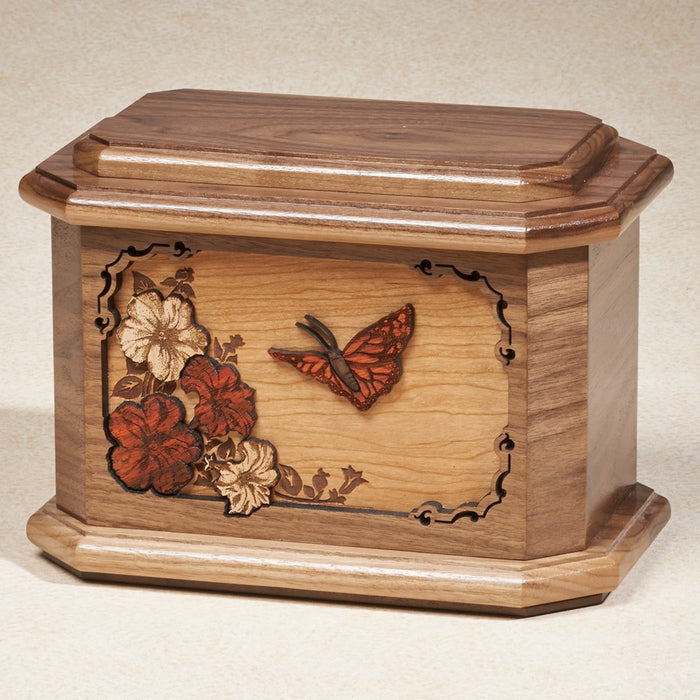 Butterfly 200 cu Maple Wooden Cremation Urn