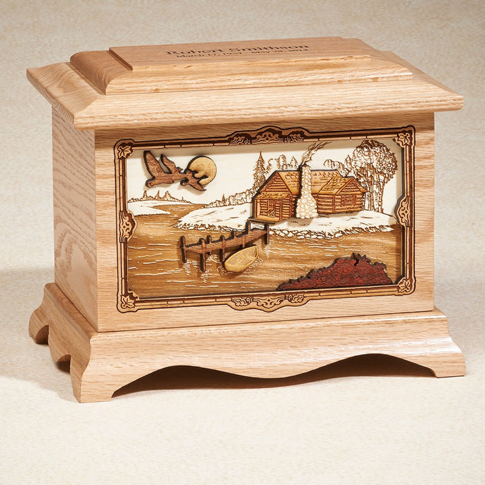 Cabin Series Oak Wood 200 cu in Cremation Urn-Cremation Urns-Infinity Urns-Afterlife Essentials
