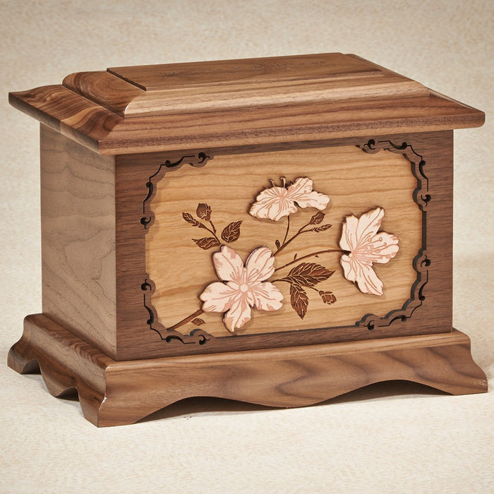 Cherry Blossoms 200 cu Oak Wooden Cremation Urn