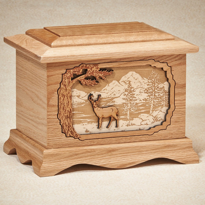 Deer Walnut Wood 200 cu in Cremation Urn-Cremation Urns-Infinity Urns-Afterlife Essentials