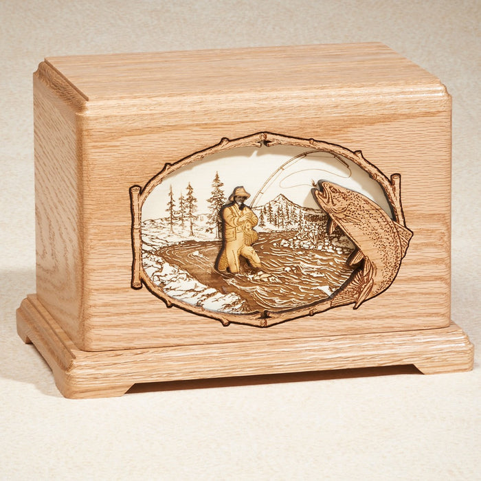 Fly Fishing Oak Wood 200 cu in Cremation Urn-Cremation Urns-Infinity Urns-Afterlife Essentials