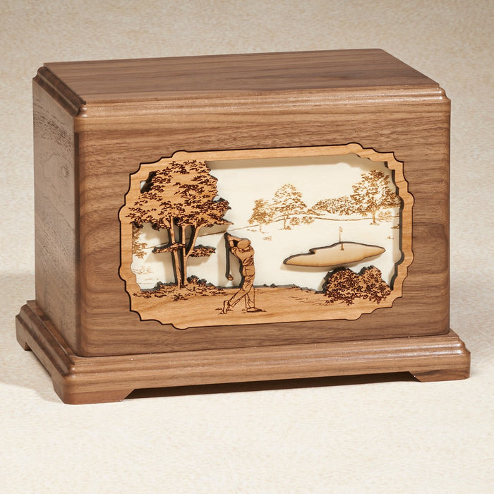 Prestigious Course Maple Wood Adult 200 cu in Cremation Urn-Cremation Urns-Infinity Urns-Afterlife Essentials
