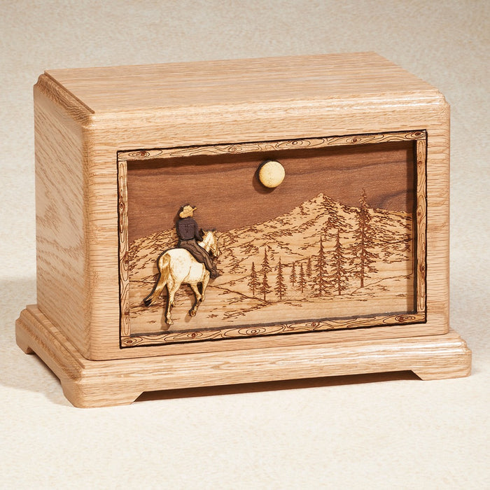 Horseback Walnut Wood 200 cu in Cremation Urn-Cremation Urns-Infinity Urns-Afterlife Essentials