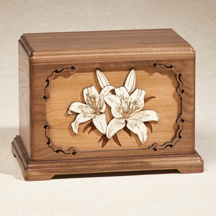 Lillies Walnut Wood Adult 200 cu in Cremation Urn-Cremation Urns-Infinity Urns-Afterlife Essentials
